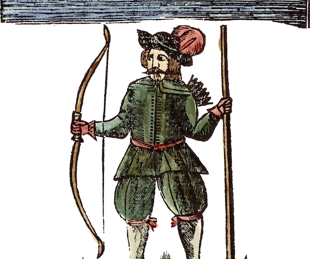 Robin Hood in a colored engraving