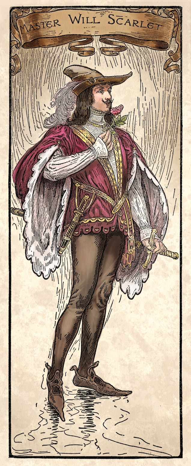 Also known by the nickname Scathelock or Scadlock, Will Scarlet figures in the oldest ballads about Robin Hood. Despite his pedigree, Will rarely appeared in May games, probably because he did not have a clearly defined character.