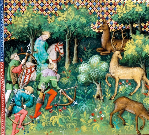 a forest deer hunt in a 14th-century miniature