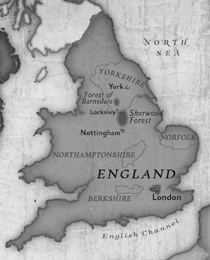 England showing the forests Sherwood and Barnsdale