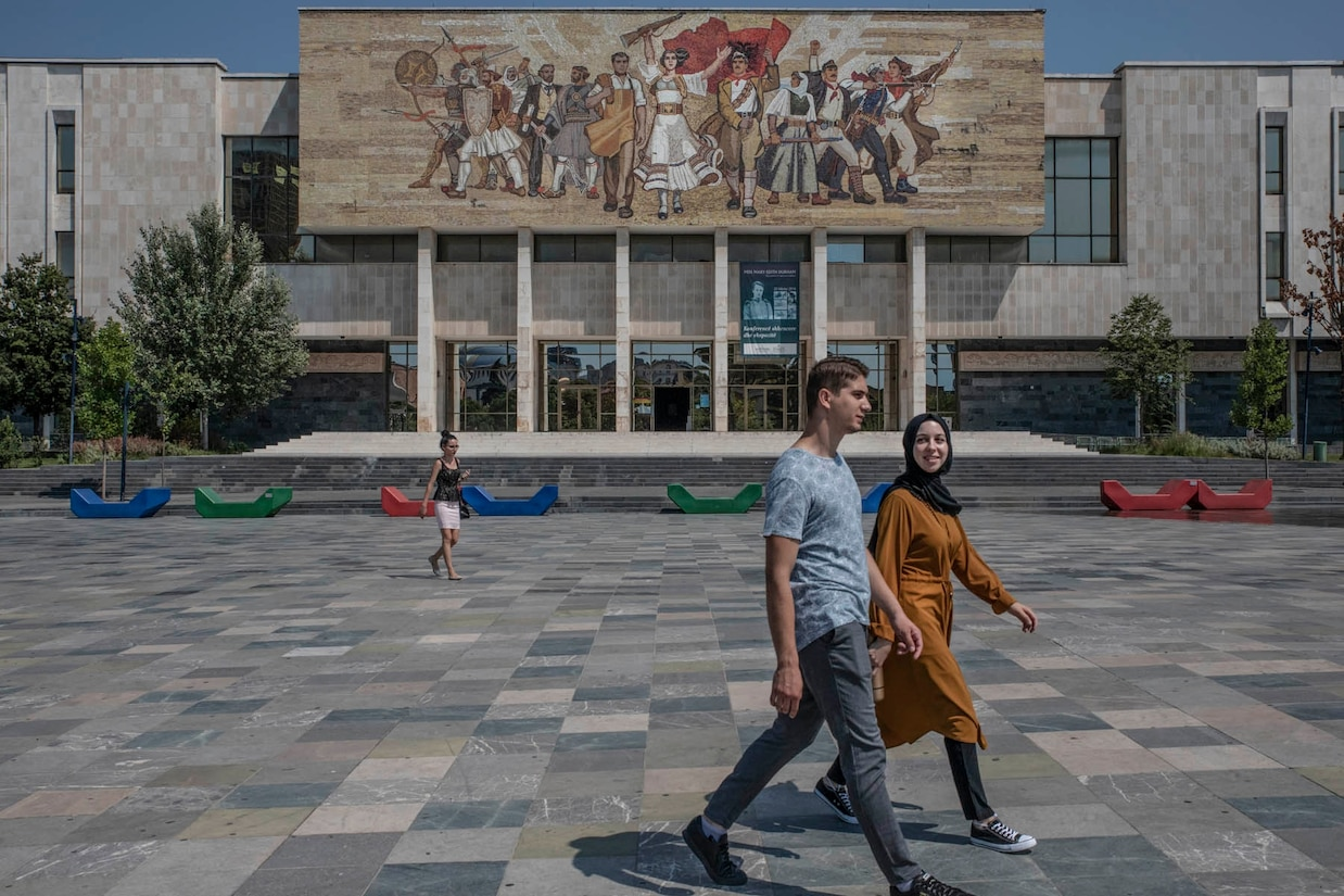 The National Museum of History in the main Skanderbeg Square
