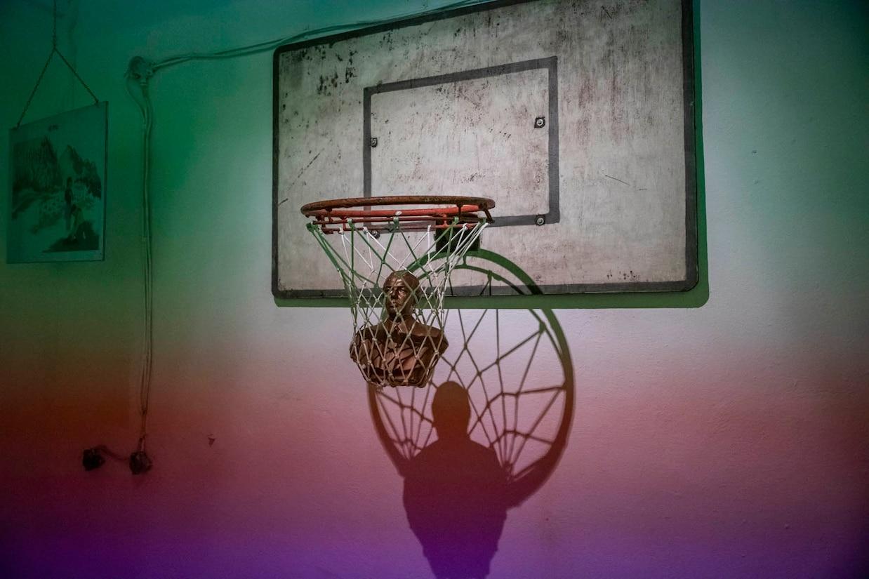 a basketball hoop inside the Bunk'Art 1 museum
