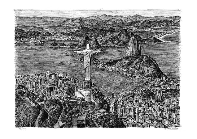 The iconic statue of Christ the Redeemer gazes over the skyline in Wiltshire's 2012 re-creation of Rio de Janeiro.