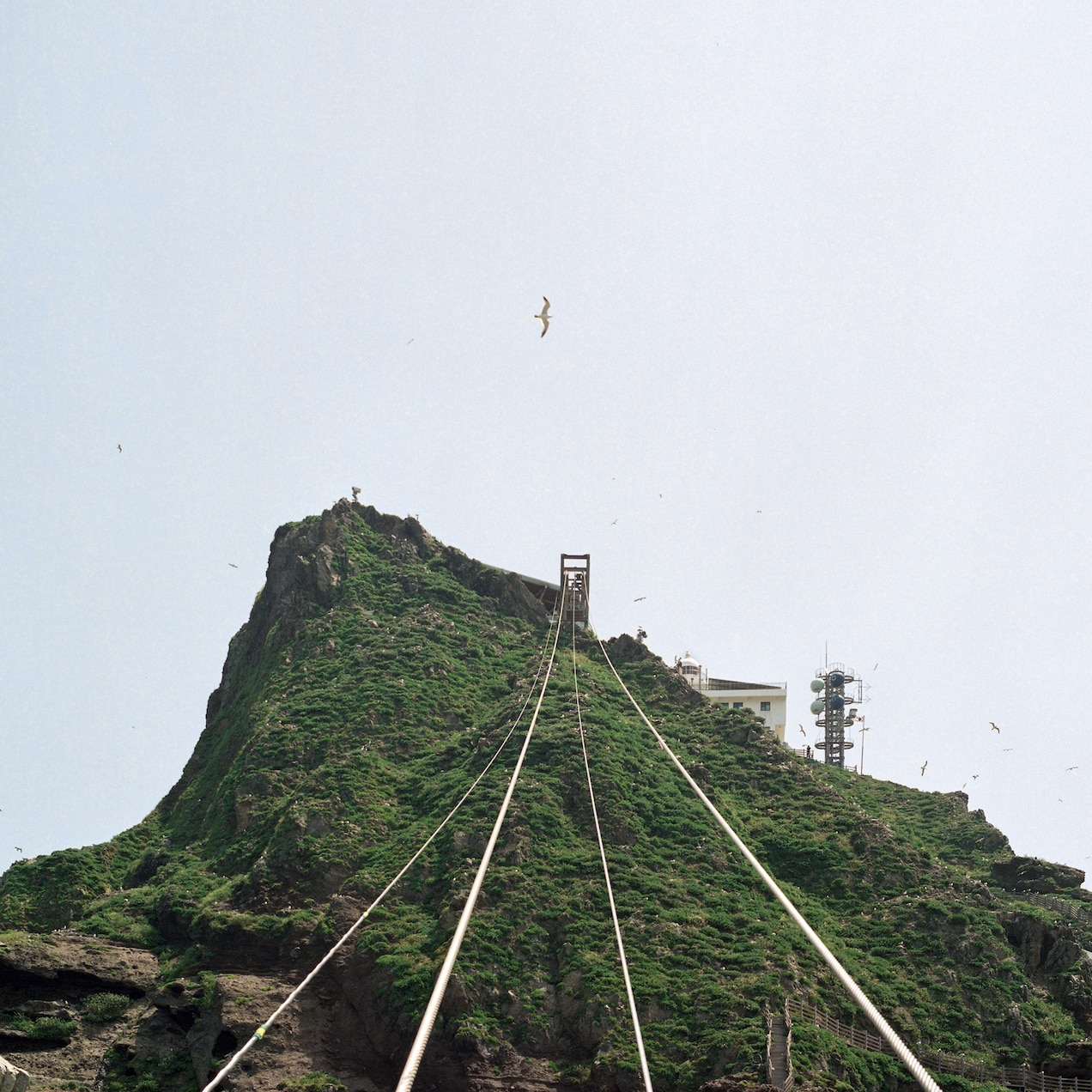 A cable car carries food and other supplies from the east island closer to the military base, which cannot be photographed for security reasons.