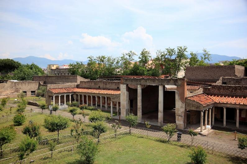 Aerial view of roman villa