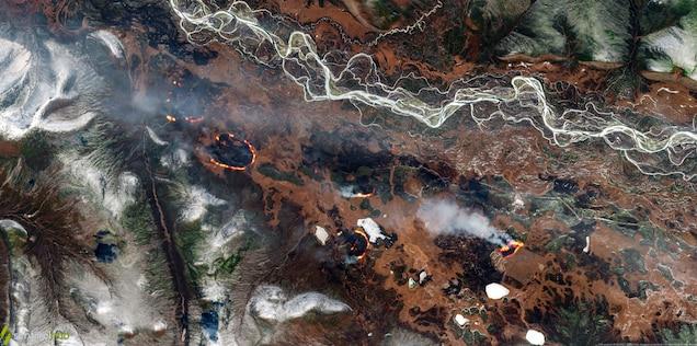Wildfires near Oymyakon, Sakha Republic, Russia