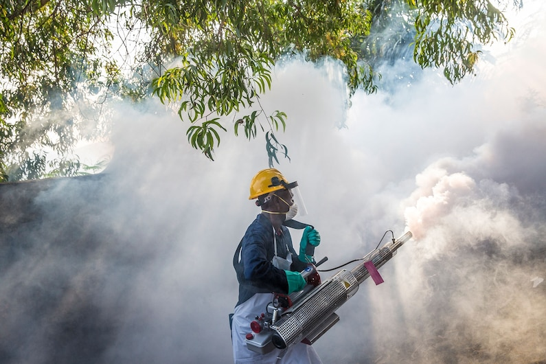 a man spraying to kill aedes mosquito