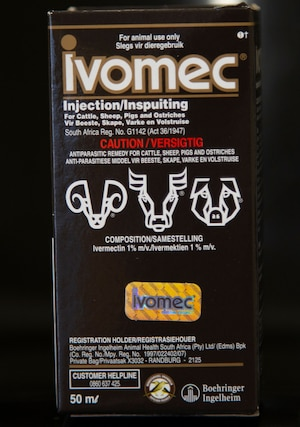 The packaging for ivermectin in South Africa, which features livestock.
