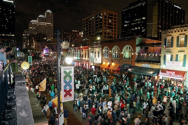 Crowds gather on 6th Street in downtown Austin, Texas, during the South By Southwest Music Festival on March 20, 2015. Photograph by Gary Miller, FilmMagic/Getty
