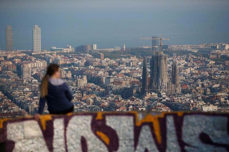 a person overlooking the sagrada familia in Spain