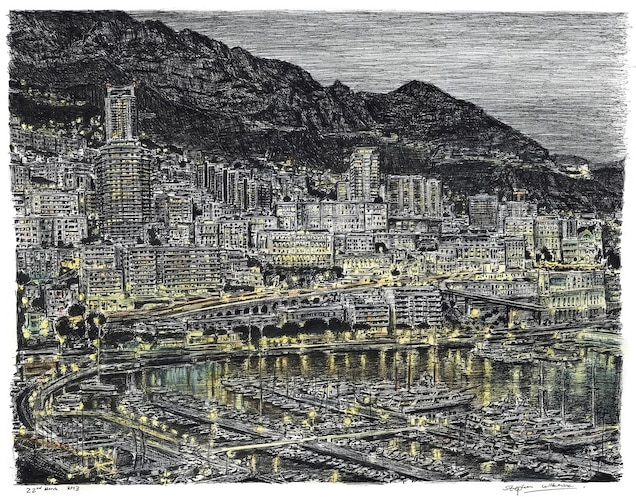 This 2013 drawing of Monte Carlo shows the city illuminated at night.