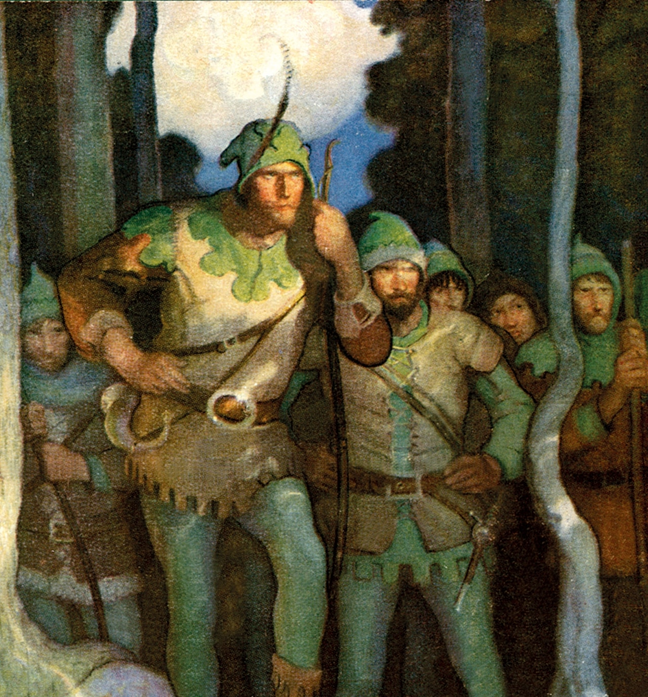 an oil painting of Robin Hood and his men in Sherwood Forest