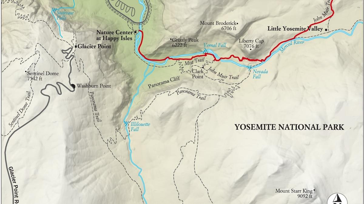 Cartina Yosemite National Park.Best Yosemite National Park Hike Trail Map National Geographic