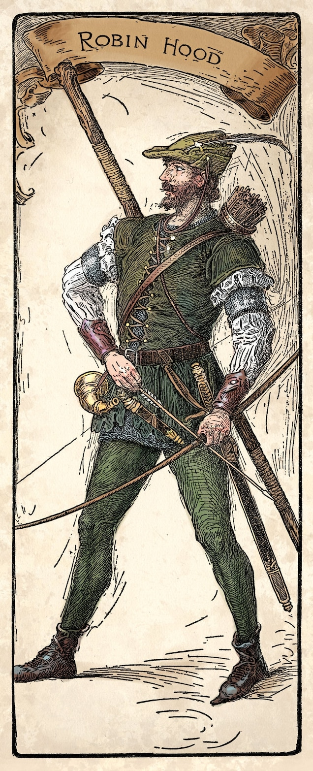 From the outset, Robin Hood was depicted as a rebel who pitted himself against authority. Even so, the idea that he stole from the rich to give to the poor only becomes a character trait from the 16th century onward.
