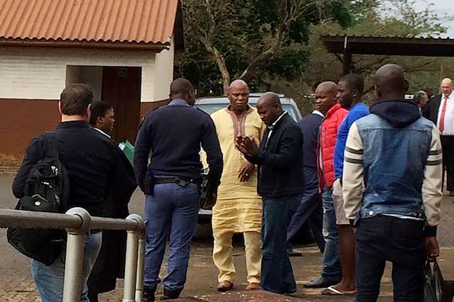Dumisani Gwala, in yellow, was allegedly responsible for the majority of poaching incidents in the province at the time of his arrest in 2014. His trial has been delayed 17 times. Photograph by Laurel Neme