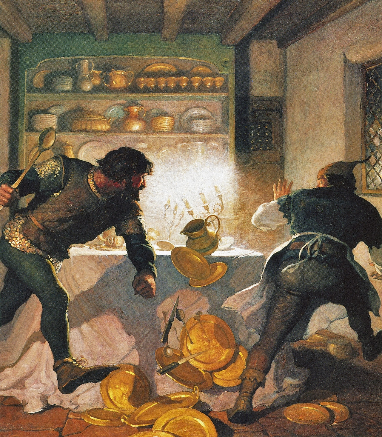 and oil painting showing Little John fighting with the cook in the Sheriff's house