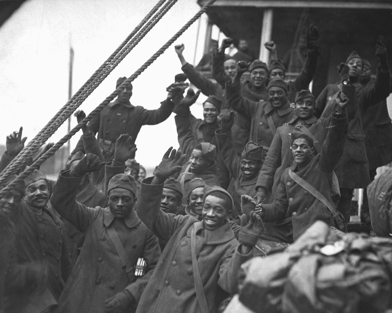a group of African American men just returning from world war one