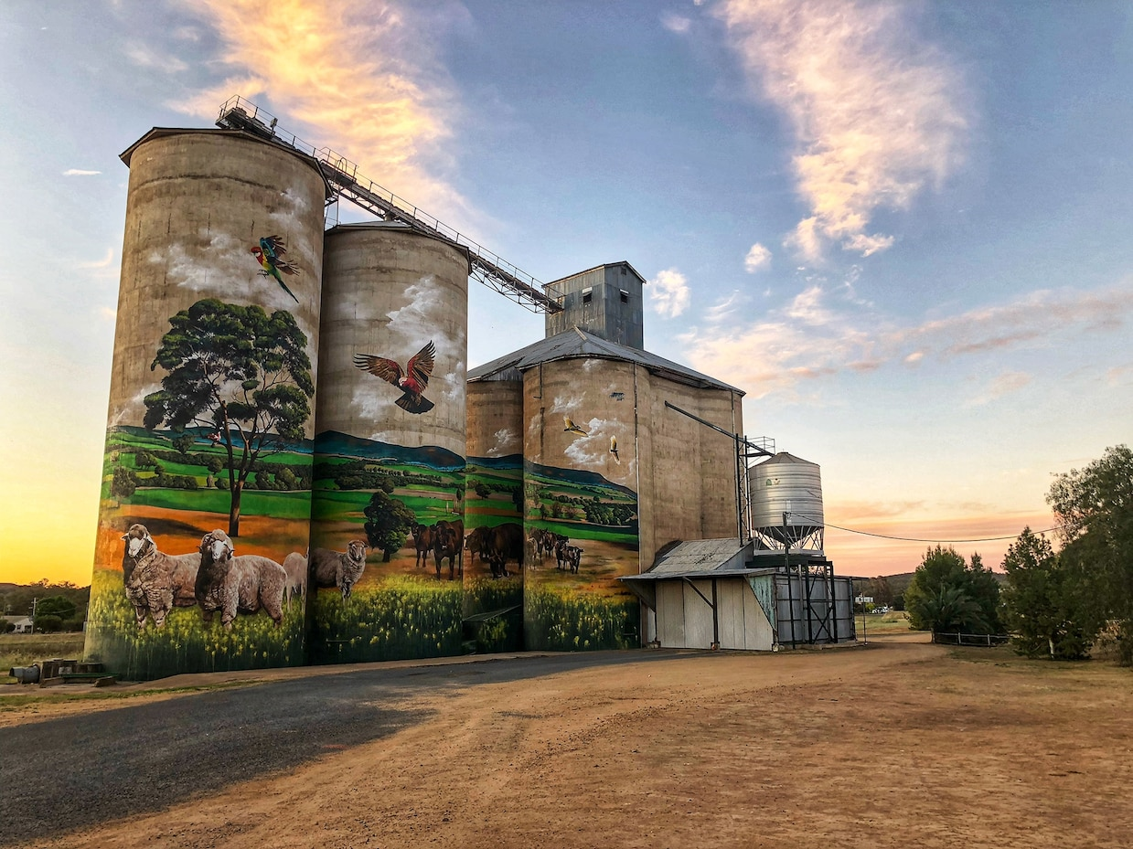 Grenfell silo painted by artist Heesco Khosnaran