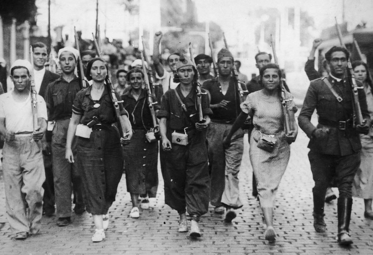 Republican militia fighters at the beginning of the Spanish Civil War
