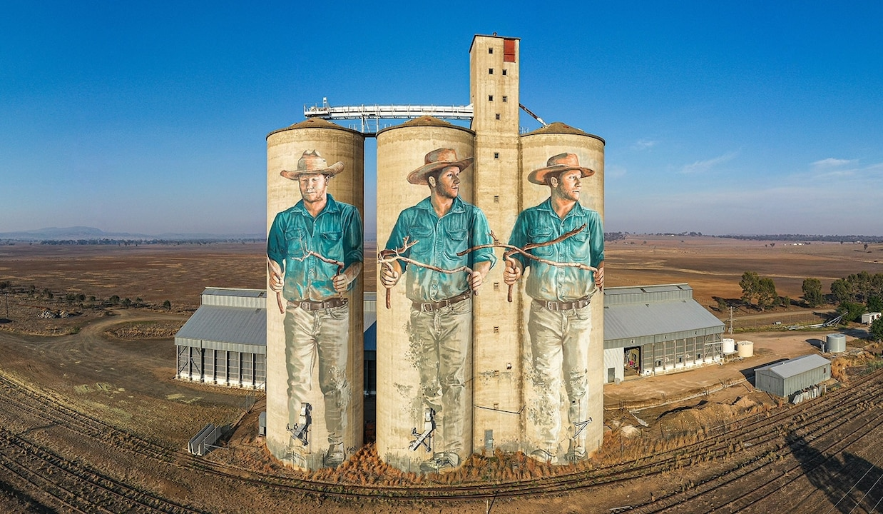 the Barraba Grain Silos, painted by artist Fintan Magee