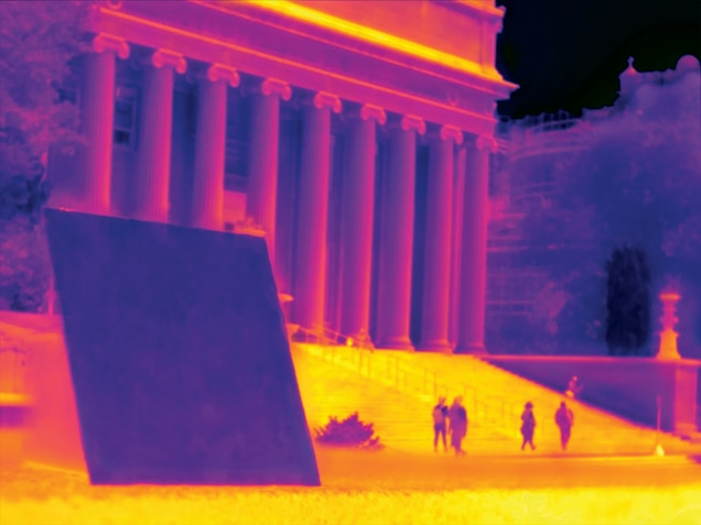 Picture of infra-red photo of the building with columns