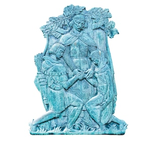 a relief of Richard the Lionheart joining the hands of Robin Hood and Maid Marian
