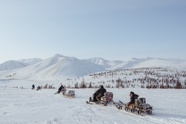 Reindeer herders from Kyusyur, Yakutia, move to another encampment before the annual March vaccination of their reindeer against anthrax and necrobacteriosis. PHOTOGRAPH BY MAX ANDEEV