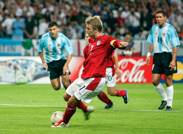 David Beckham made Adidas's kangaroo leather Predator cleats famous at the 2002 World Cup. The leather is still used to make top-tier cleats. Photograph by Ricardo Mazalan, AP