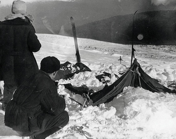 rescuers at the hikers' tent
